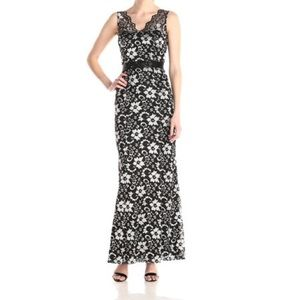 Betsy & Adam Black Silver Floral Lace Dress